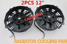 "2Pcs UNIVERSAL SLIM 12"" PULL PUSH RADIATOR ENGINE / OIL COOLING FAN+MOUNTING KIT"