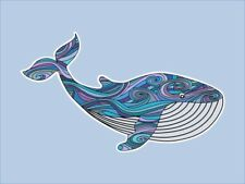 Whale Die Cut Sticker, Hand Drawn Illustration, Scrapbook Journal Decal Art