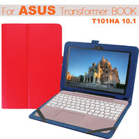 Folio Slim Leather Case Keyboard Cover For Asus Transformer BooK T101HA 10.1""