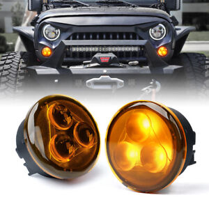 Xprite Yellow LED Turn Signal Light Assembly w/ Amber Lens for 2007-2018 Jeep JK