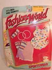 Vintage FASHION WORLD BARBIE DOLL ON CARD MOC DRESS 1988 OUTFIT