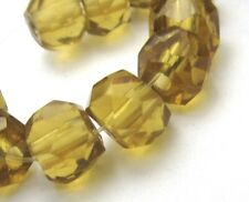 10 RARE STUNNING OLD HAND FACETED GOLD RUSSIAN BLUE ANTIQUE TRADE BEADS