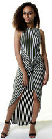 WOMENS New Fashion Stretchy BODYCON Summer Party STRIPED Maxi Dress UK8 10 12 14