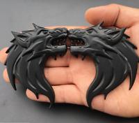 Pair Black Metal 3D Wolf Head Auto Car Motorcycle Emblem Badge Decal Sticker