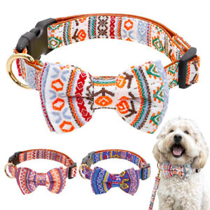 Printing Dog Collar Bowtie Padded Leather Small Dog Collar Female Adjustable