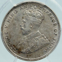 1927 STRAITS SETTLEMENTS UK King George V ANTIQUE SILVER 20Cent PCGS Coin i87391