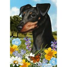 Summer Garden Flag - Uncropped Black and Tan Miniature Pinscher 180841