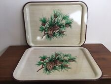 "2 Vintage Metal Trays Lap Serving Pine Cones Large 17 1/2"" x 12 3/4 Brown Trim"
