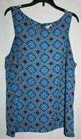 Paper Crane M Blue Geometric Back Zip Woven Sleeveless Blouse/Top Boatneck Woven