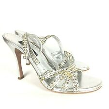 Claudio Milano Leather Sandal Silver Crystal Size 40 Italy #292