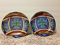 (2) Gold Buffet Royal Gallery Gold Christmas Ornament Multi Colored Plates 8""