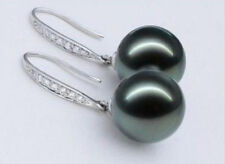 10-11MM NATURAL TAHITIAN GENUINE BLACK PERFECT ROUND SILVER PEARL EARRING