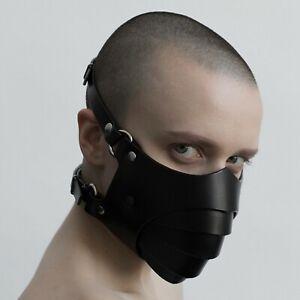 Black Unisex Leather BDSM Bondage Mask Buckle Strap Muzzle Tier Roleplay Fetish