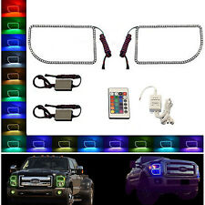 11-16 Ford F-250 Multi-Color Changing LED RGB Halo Lower Headlight Rings Pair IR