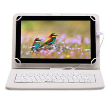"iRULU 10.1"" Tablet PC Android 6.0 X Marshmellow 16G A33 QuadCore White Keyboard"