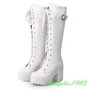Chic Womens PU Leather Round Toe Lace Up Platform Block Heel Knee Boots Shoes @