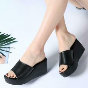 Ladys Leather Slipper Wedge Heel Mules Sandals Platform Shoes Slides WQ03