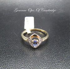 New Dainty 9ct Gold Tanzanite and Diamond Ring Size M 1/2 2g