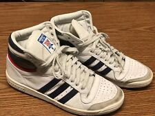 Adidas D65161 Mens Top Ten Hi Top White Blue Red Basketball Shoes Sz 10.5