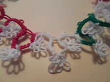 """Tatted Trim 14"""" Green Red White Christmas Stocking Trim Tatting By Dove Country"""
