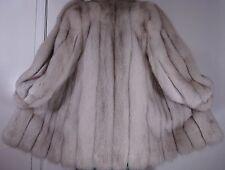 Luxurious Blue White Fox Fur Jacket Coat Size 8-10 Free Ship EXCELLENT CONDITION