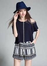 U.S. Style Off Shoulder Top and Garterized Shorts Terno Set