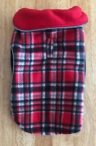 Nwt Hip Doggie Reversible Polar Fleece Wrap Coat Jacket, Red Plaid, Size Small