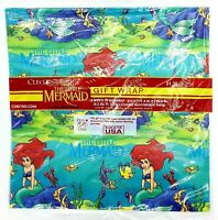 Vintage 90s Disney Little Mermaid Gift Wrap Birthday Christmas Wrapping Paper
