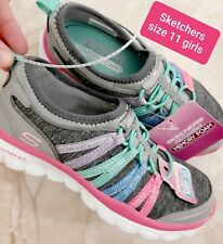 NWT Sketchers Girls Shoes Memory Foam SIZE 11 Stretch no lace pull on sneakers