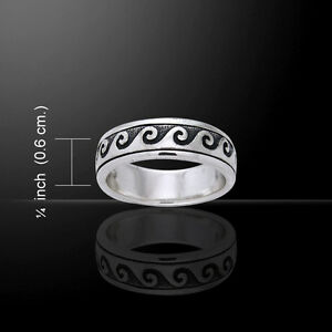 Wave Surf Ring Sea Spinner Curl .925 Sterling Silver by Peter Stone Jewelry Fine