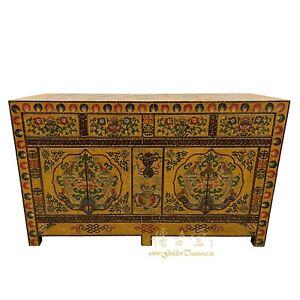 Vintage Tibetan Painted Cabinet, Buffet Table, Sideboard