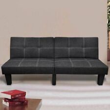 Fabric 3 Three Seater Sofa Bed Lounge Suite Futon Couch Chaise Black Adjustable