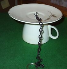 """Stalk of Wheat"" Tea Cup & Saucer Hanging Homemade Bird Feeder"