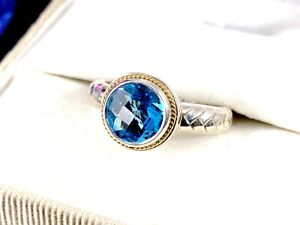 BALISSIMA BY EFFY BH 18K GOLD 925 STERLING 1.5 CT. LONDON BLUE TOPAZ RING - 6.75