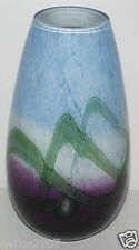 Large 19cm Caithness Art Glass Heavy Vase Decorated With Purple Blue Flowers