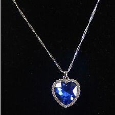 Dark Blue Love Heart Shape Chain Necklace Crystal Pendant Jewelleery Free Shipp