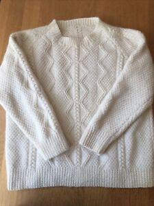 100% Wool White Women's Arran Jumper