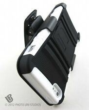 WHITE RUGGED HYBRID HARD CASE COVER + BELT CLIP HOLSTER APPLE IPHONE 5 5S SE