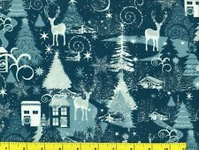 Going Home for Christmas Snowflakes Quilting Fabric by Yard #3209