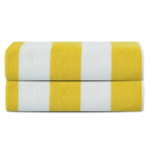 Premium Luxury Cotton Beach Pool Bath Towels 2 Pack Set, Yellow
