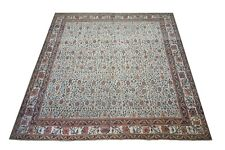 14X14 Antique Square Indian Agra Rug Hand-Knotted Cotton Carpet, Circa 1900