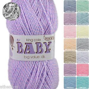 King Cole Big Value Baby DK with a Twist 100g Acrylic Knitting Yarn. Full Range