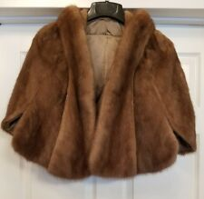Mink Shawl Stole Royal Quality Women's Cape sz S EMBA Pastel natural brown