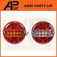 PAIR 12V LED Rear Round Brake Tail + Reverse Light Tractor Stewart Mchale Bale