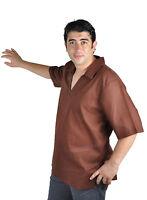 wunderschöne moderne orientalische Herren Tunika braun 100% Baumwolle -KAM00678