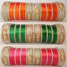 Indian Bollywood Fashion Jewelry Colored Chura Bridal Set Wedding Bangles