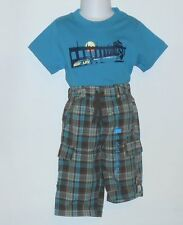 The Childrens Place Infant Boys Plaid Cargo Pants & Graphic T-Shirt 12M NWT