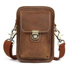 Men's Genuine Leather Messenger Shoulder Crossbody Bag Waist Pack Sports Hiking