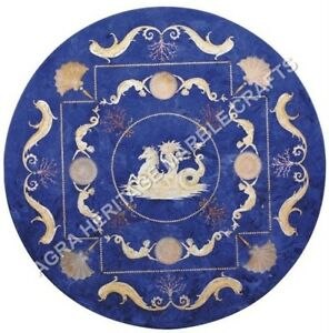 """36"""" Blue Marble Dining Table Top Lapis Lazuli Inlay Antique Art Home Decor H5074"""
