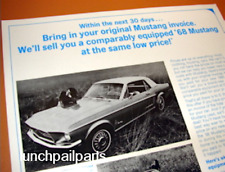 NOS DLR brochure 1968 Ford Mustang special sale options trade-in 1964 1/2 1965